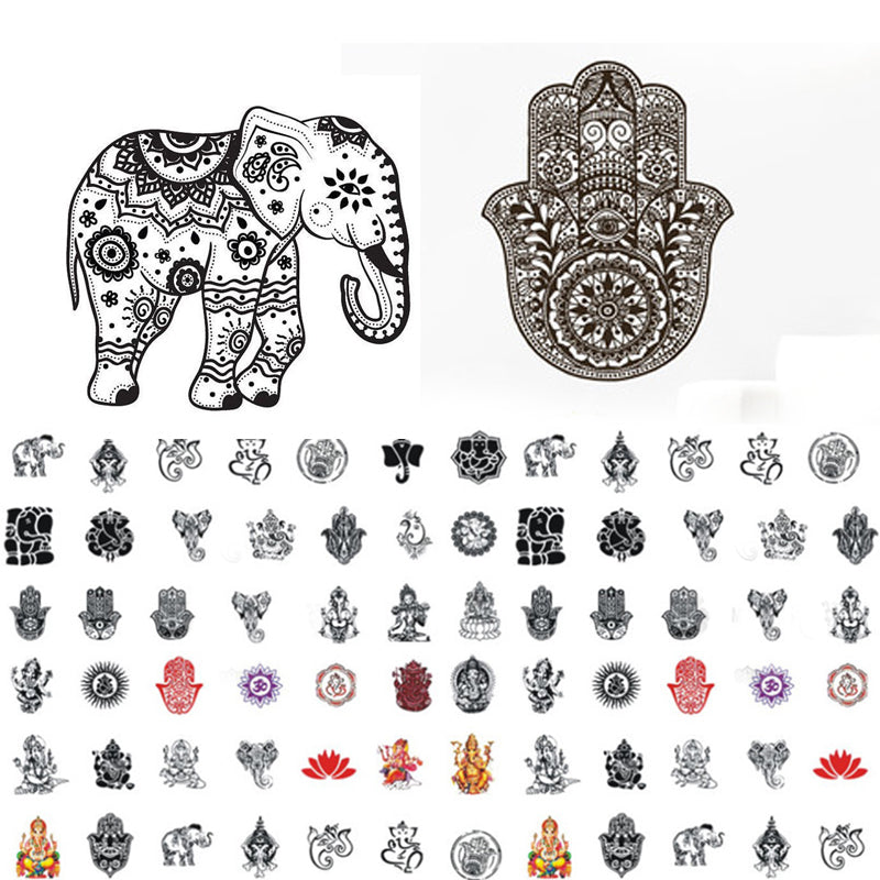 1 sheet Mandala Indian Elephant Nail Water Decals Buddha's Hand Nail Sticker Nail Art Sticker Tattoo Decals