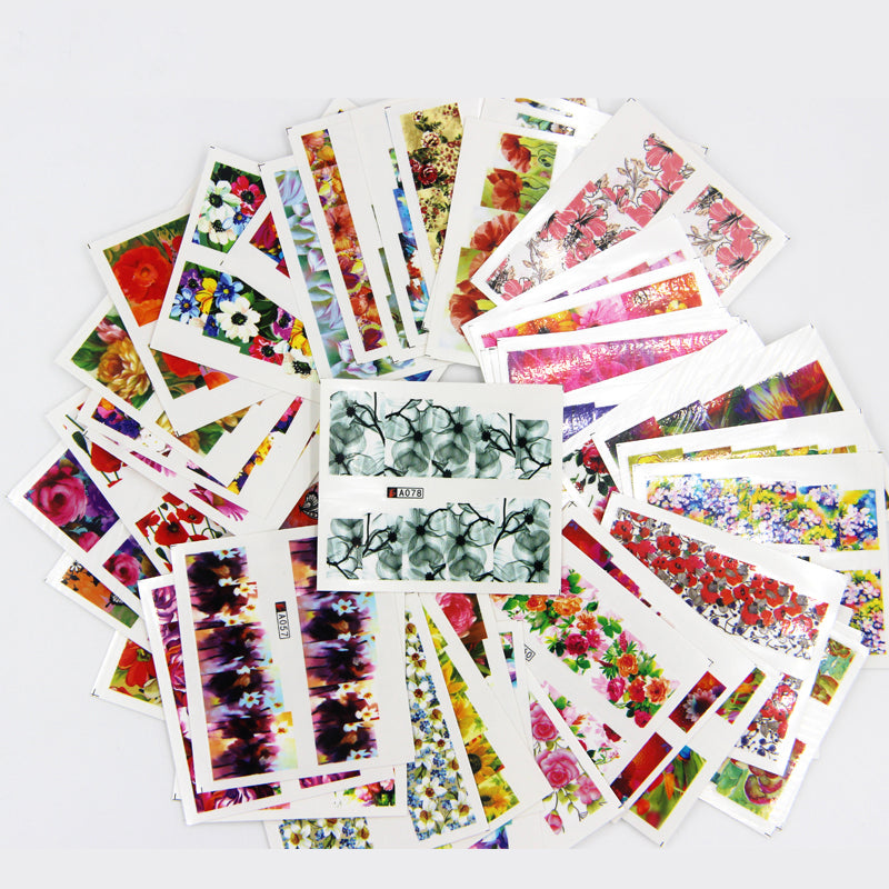 100pcs Nail Art Sticker Sets Mixed Floral Full Water Decals for ...