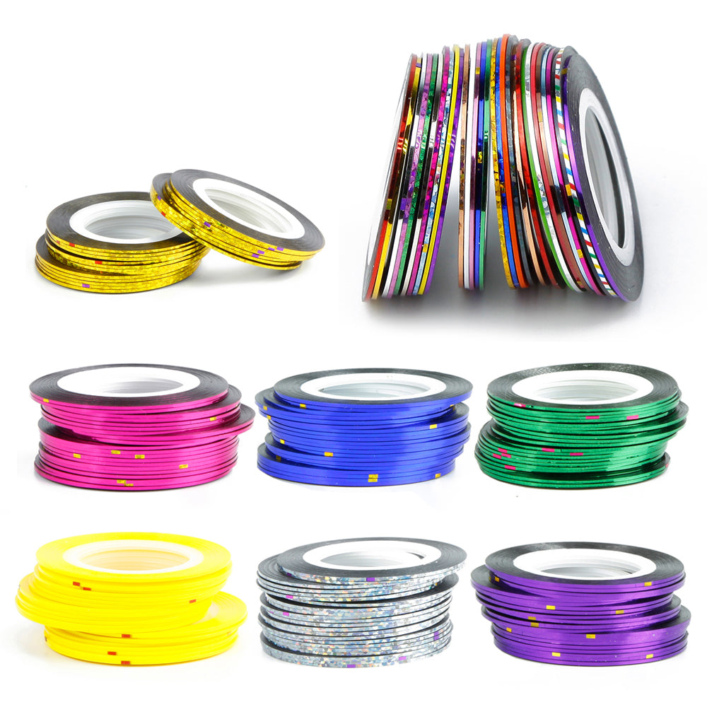 30Pcs/Roll Nail Strips Tape Line Nail Art Design Nail Polish Nail ...