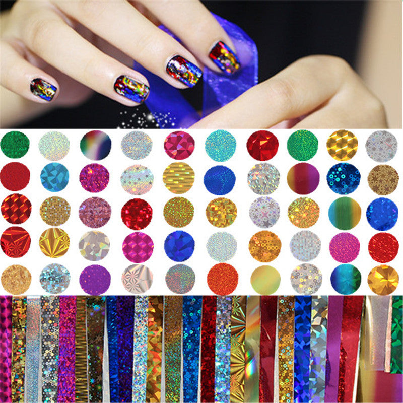 50Pcs Nail Glitter Transfer Sticker Nails Glitter Tips Nail Art ...