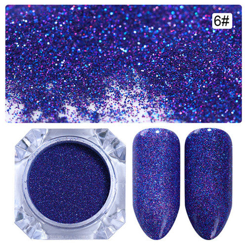 1 Box 1.5g Starry Nail Power 9 Colors Holographic Laser Nail Art Glitter Decorations