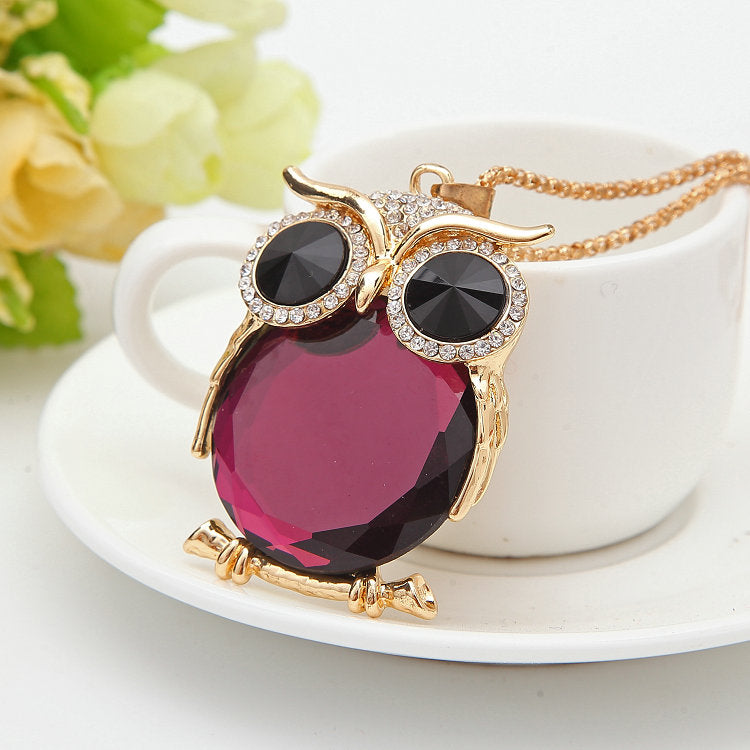 Owl Necklace Rhinestone Crystal Jewelry Statement Silver Chain Necklace