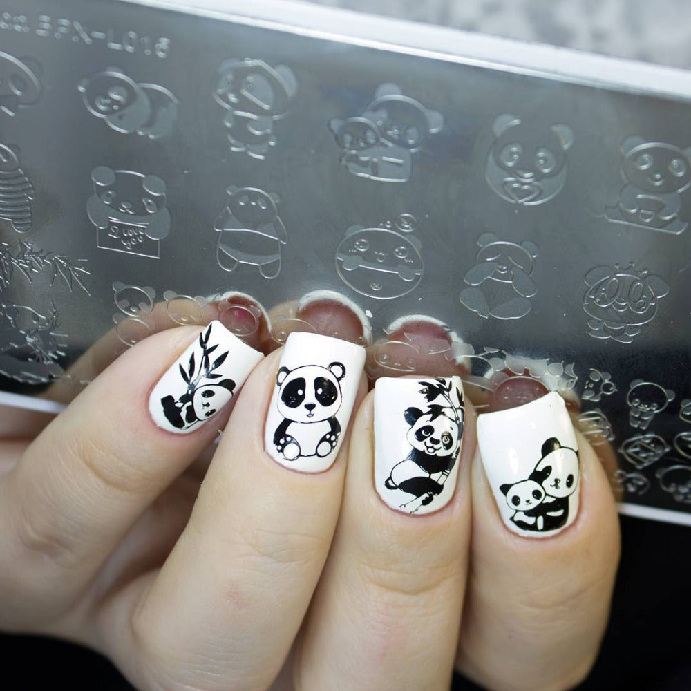 Nail Art Stamp Template Floral Panda Geometry Rectangle Manicure