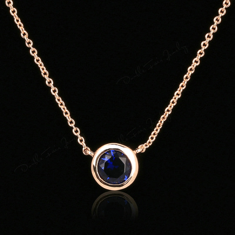 Simple Cubic Zirconia Crystal Necklaces Pendants Rose Gold Chain Necklaces