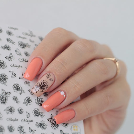 Spring Floral Sakura Daisy Lavender Floral Nail Colors Sticker Manicure Nail Art Decoration