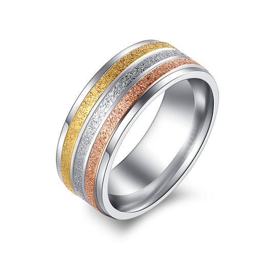Stainless Steel Rings For Women Three Colors Lines Trendy Wedding Rings Fashion For Women