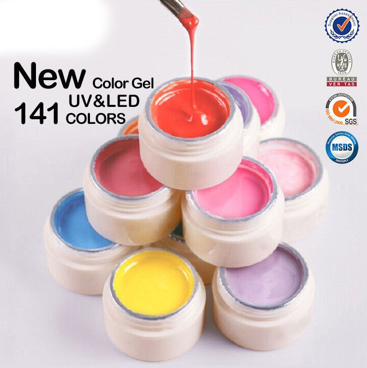 140 Colors Gel Paint Solid Pure Glitter UV Soak Off Gel Nail Art Tips Decoration
