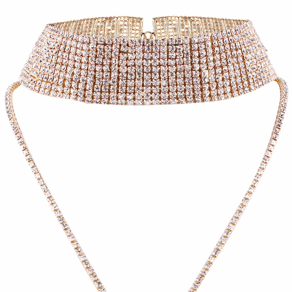 Rhinestone Choker Necklace Luxury Statement Crystal Chokers Necklaces