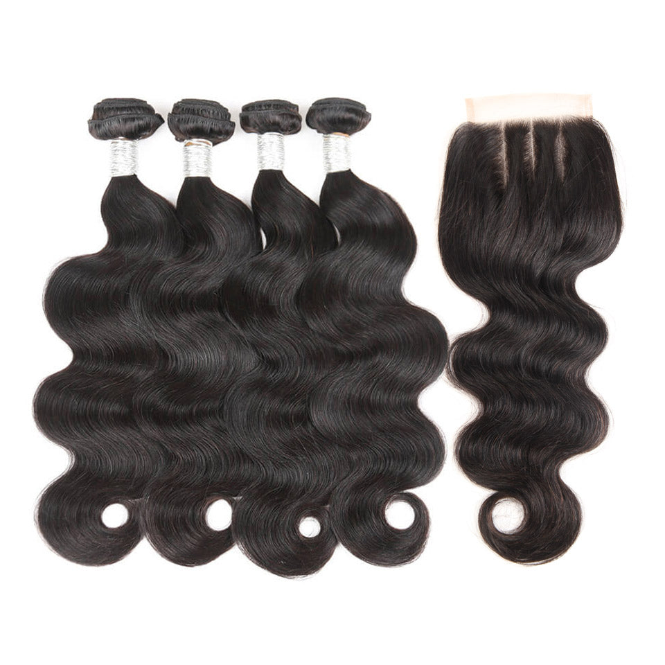 Pre-colored 4 Bundles With Closure Malaysian Body Wave Hair Non Remy Human Hair Weave Bundles With Closure