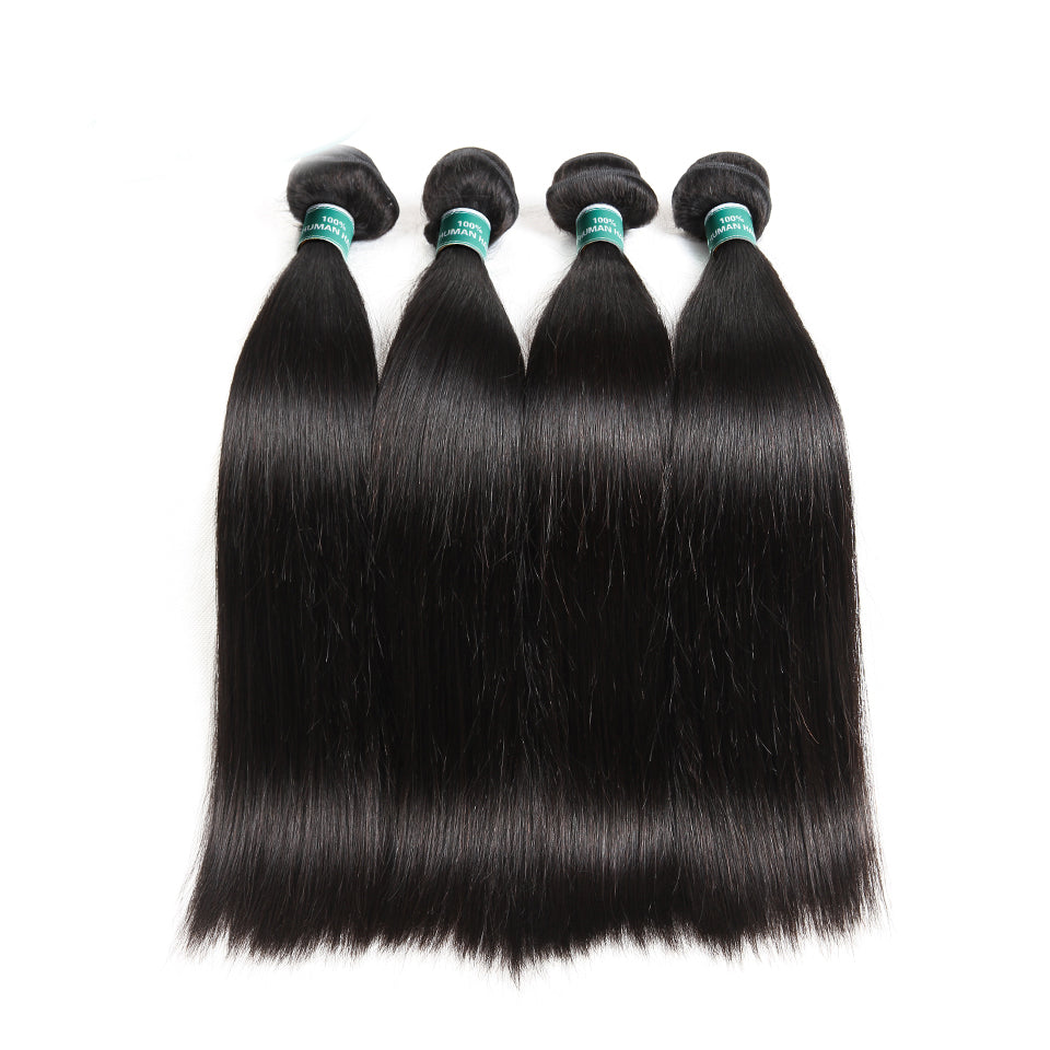 Brazilian Straight Human Hair Weave Bundles 10-28 Inches Natural Color Remy Hair