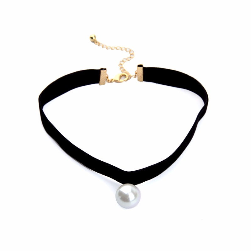 Black Chokers Round Simulated Pearls Choker Necklace