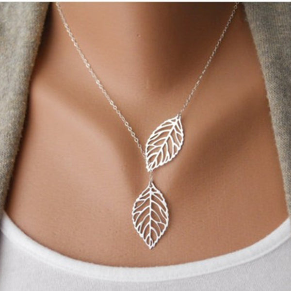 Punk Fashion Minimalist Two Leaves Pendant Clavicle Necklaces