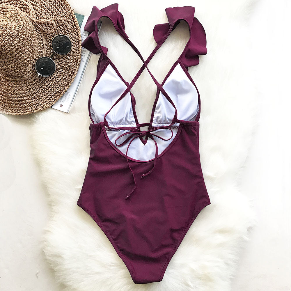 Burgundy Heart Attack Falbala One-piece Swimsuit One-piece Swimsuit Beach Bathing Suit Swimwear