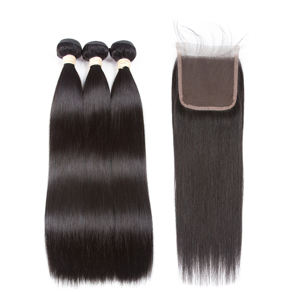 Pre-colored 100% Remy Human Hair Bundles With Closure Brazilian Hair Straight 3 Bundles With Lace Closure