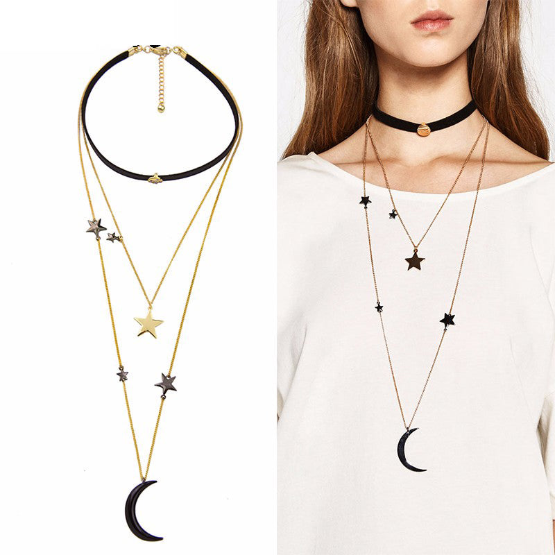 Choker Necklace Three Layers Alloy Stars Moon Necklaces