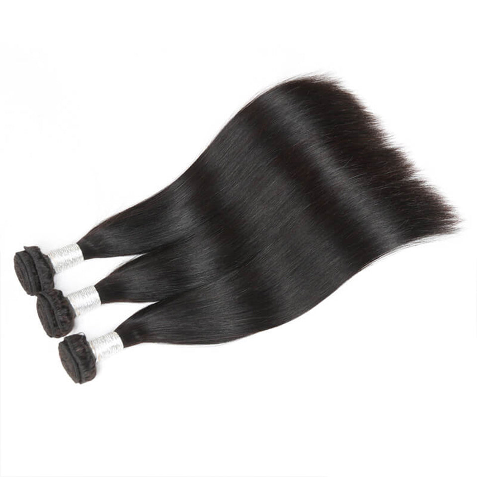Human Hair Bundles With Closure Remy Brazilian Hair Straight 3 Bundles 4x4 Lace Closure Salon Bundle