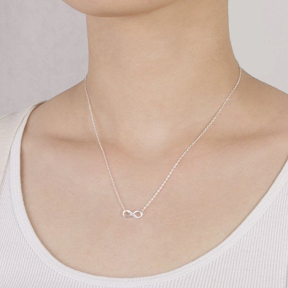 Choker Silver Long Chain Necklace Tiny Infinity Crystal Pendant Necklaces