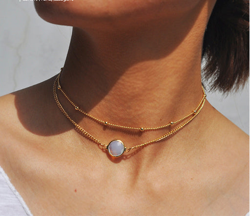 Natural Crystal Choker Necklace Stone Pendant Necklace