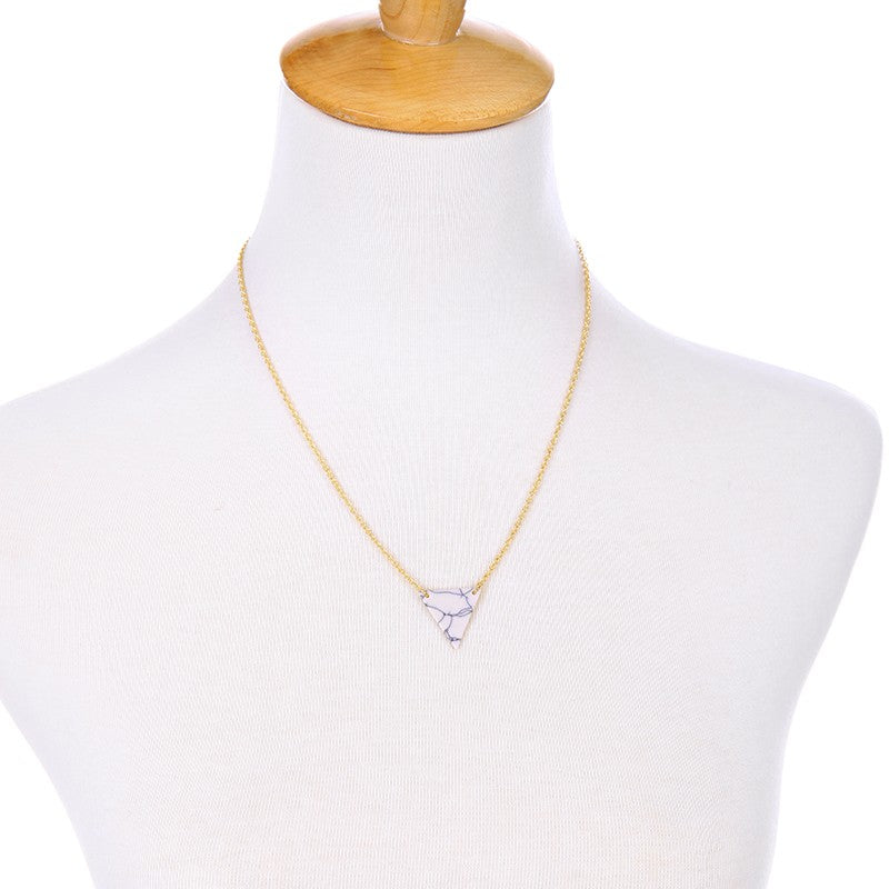 Alloy Artificial Marble Triangle Pendant Necklace