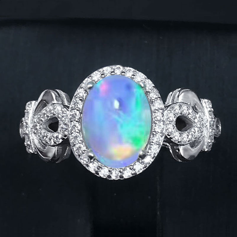 Genuine Natural Fire Opal Ring Solid 925 Sterling Silver Gem Stone Rings Fine Jewelry