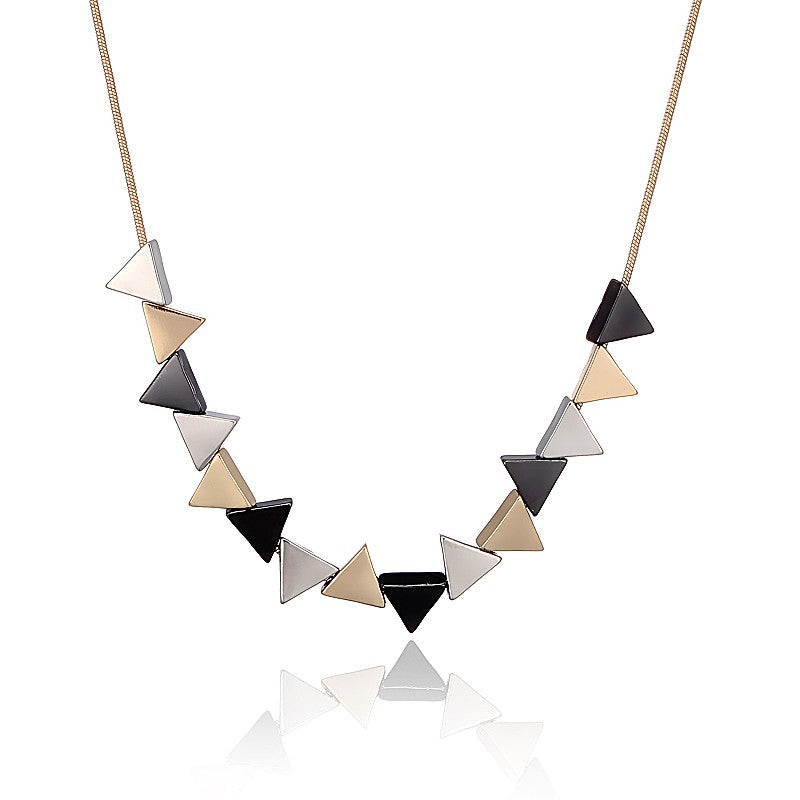 Unique Geometric Triangle Shaped Alloy Pendant Necklace