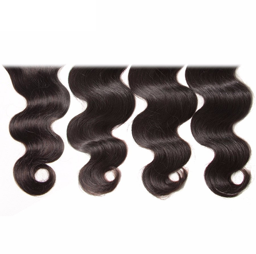 Brazilian Body Wave Lace Closure Free Part 4 Pcs Human Hair Bundles With Closure Remy Hair