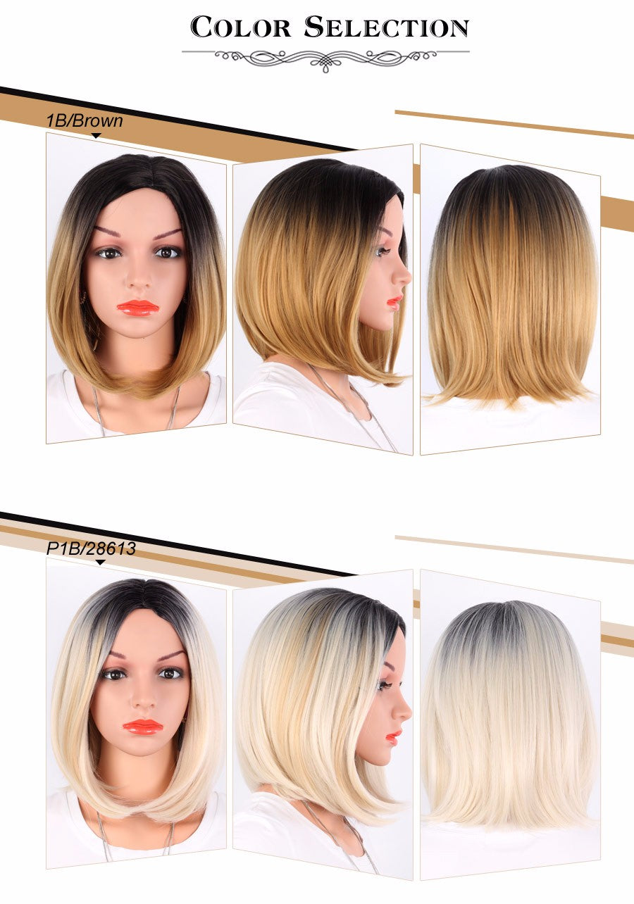 8 Colors African American Bob Wigs Short Shoulder Length Ombre Blonde Straight Synthetic Wigs For Black Women