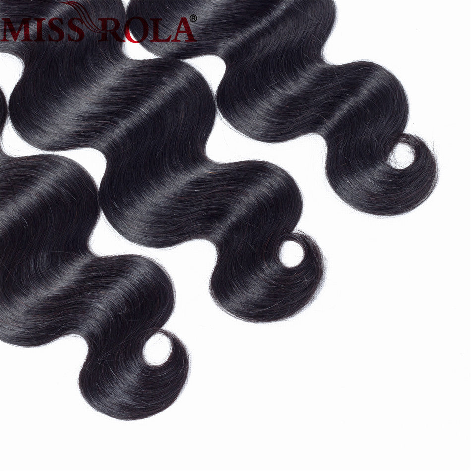 Brazilian Hair Weave Bundles with Closure 100% Human Hair Natural Color Brazilian Body Wave Non-Remy Hair Extension