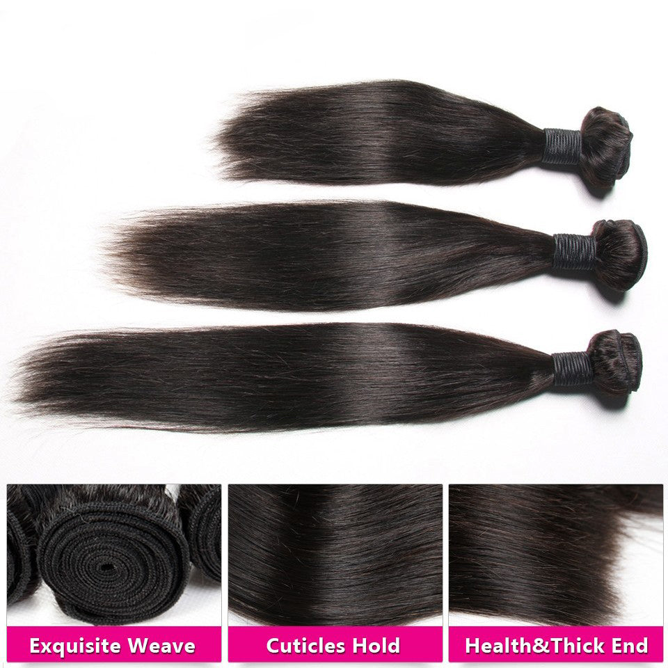 Brazilian Straight Hair Weave Bundles 100% Human Hair Bundles Non Remy Hair Extensions