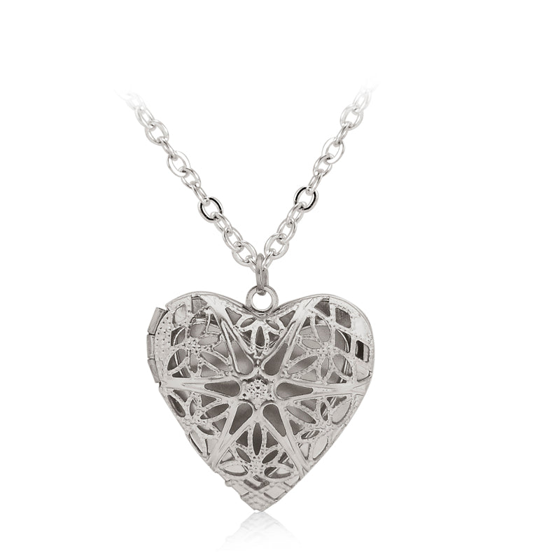 Hollow Love Heart DIY Secret Message Locket Necklace