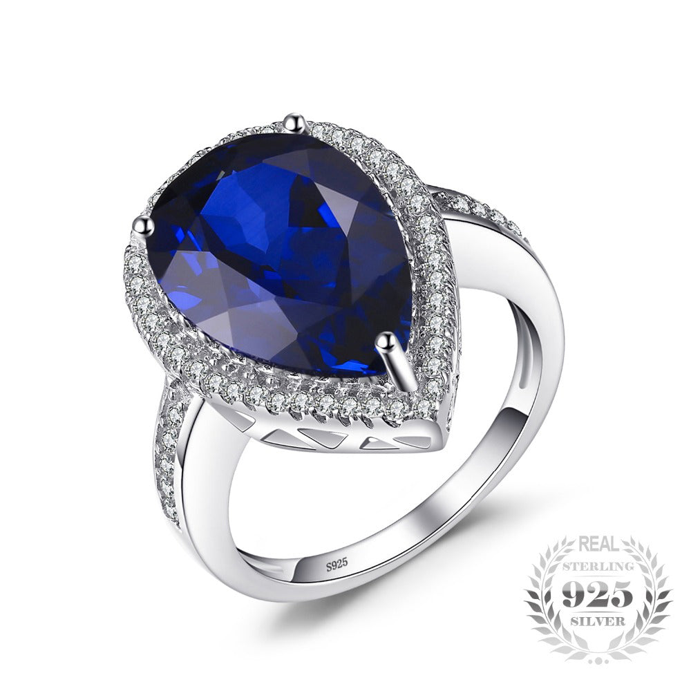 Charm 7ct Water Drop Cut Created Sapphire Ring Pure 925 Sterling Silver Luxury Jewelry