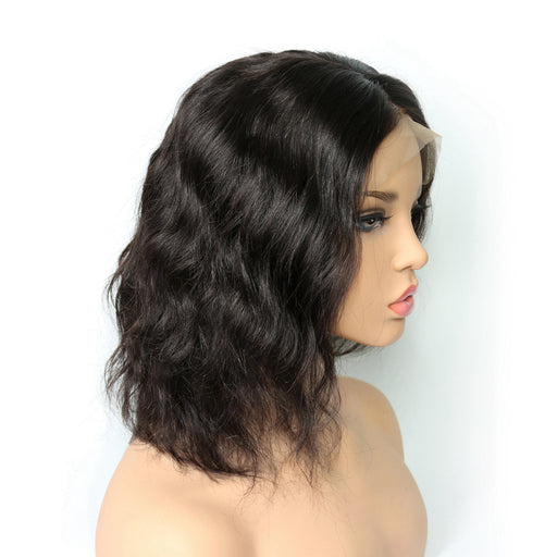 Pre Plucked Lace Front Human Hair Wigs With Baby Hair Natural Black Brazilian Wavy Remy Hair Short Bob Wigs
