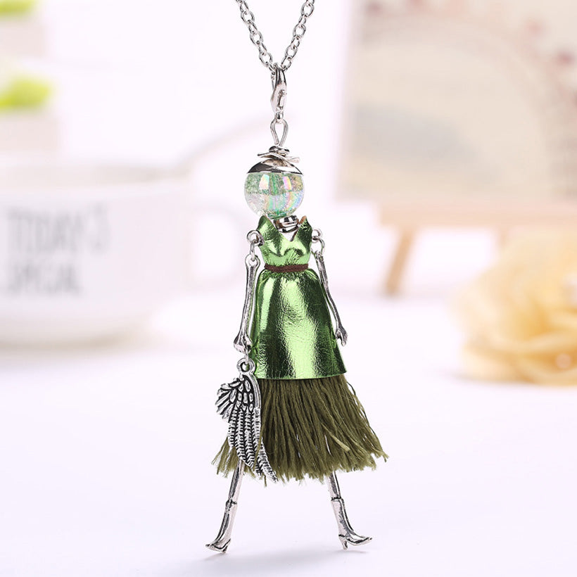 Tassel Doll Long Maxi Necklace Hot Girl Rhinestone Fashion Boho Necklace
