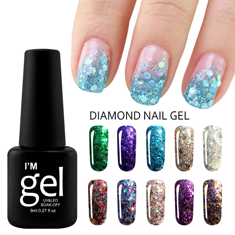 Glitter Lucky Color Gel Nail Polish Diamond Gel Varnish Long Lasting ...