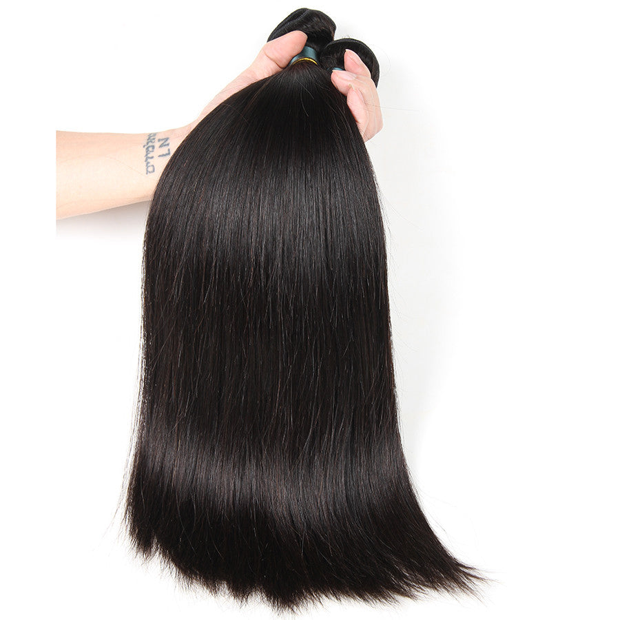 Brazilian Straight Hair Human Hair Bundles With Closure Middle Part 3 Bundles with Closure Non Remy Hair Extension