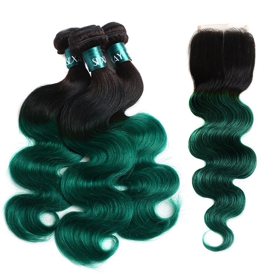 Pre-Colored Ombre Bundles With Closure 1B/Green Ombre Human Hair Weave Brazilian Body Wave 3 Bundles Pack With Closure