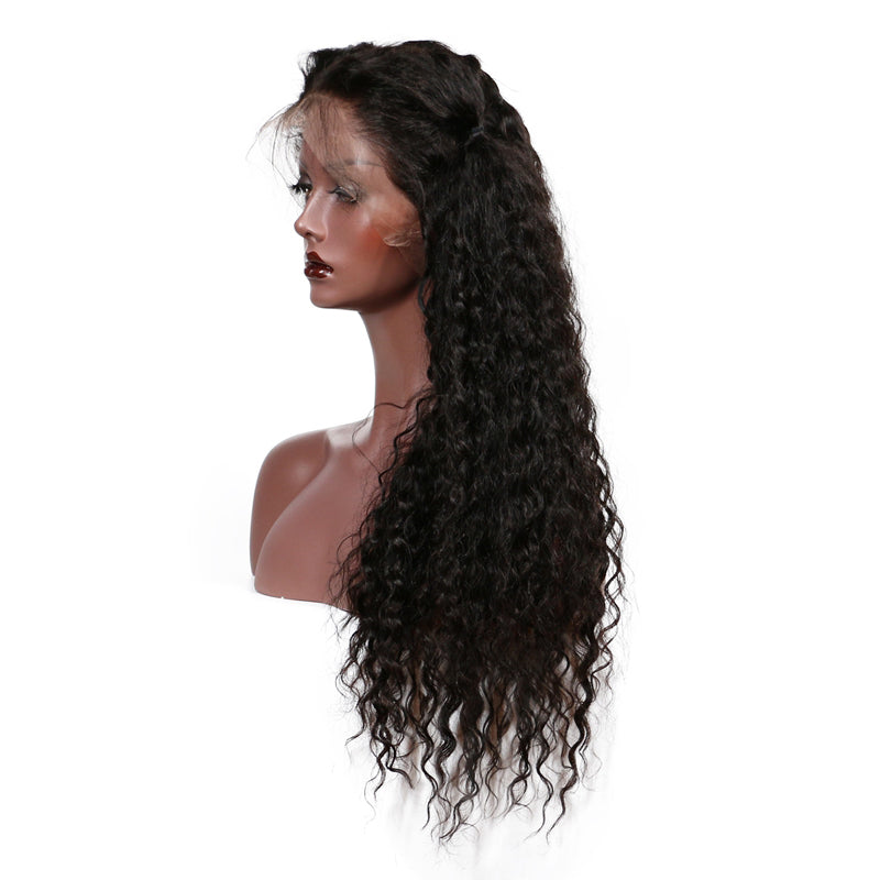 150% Density Curly Lace Front Human Hair Wigs For Women Pre Plucked Brazilian Remy Hair Wig Bleached Knot Black Color