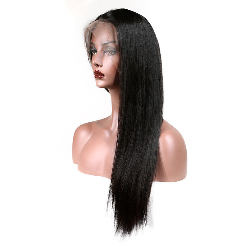 Brazilian Lace Front Human Hair Wigs For Women Remy Hair Straight Wig With Baby Hair Natural Hairline Full End Black Color