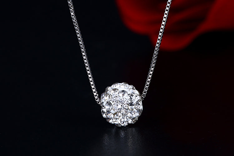 S925 Pure Silver Simple Crystal Chain Necklace