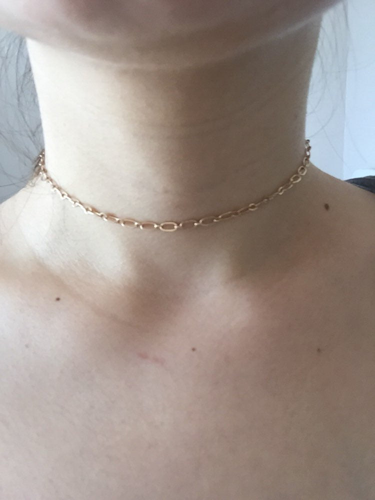 Copper Dainty Halo Bar Chain Choker Necklace Women Charm Manual Chain Necklace