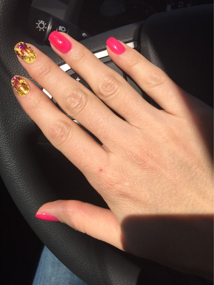 Red Pink Gold Nail Transfer Stickers Cute Simple Nail Color Designs ...
