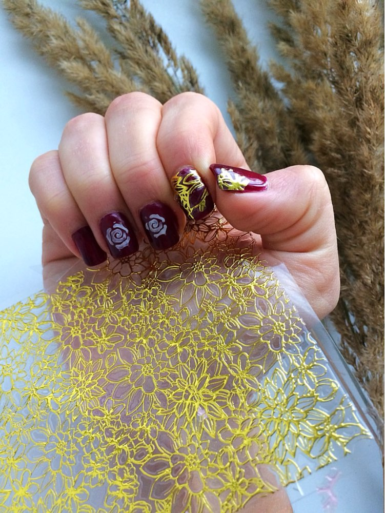 1 Sheet Embossed 3d Nail Stickers Flower 3d Nail Art Stickers Decals