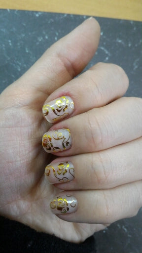1Set Gold 3D Nail Art Stickers Decals Patch Metallic Floral Designs Stickers