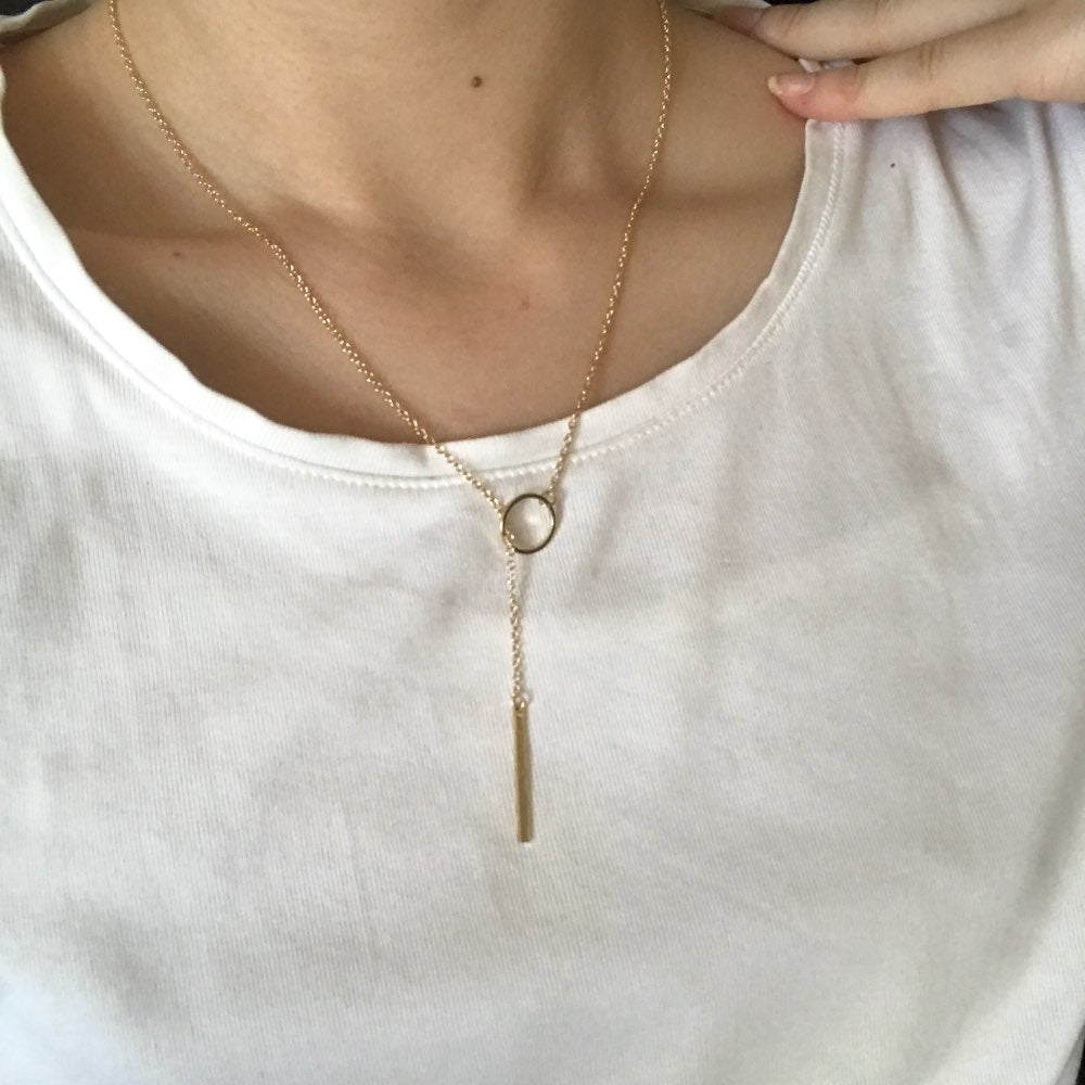 Dainty Gold Necklaces Pendants Minimalist Simple Necklace Circle with Bar Long Necklace