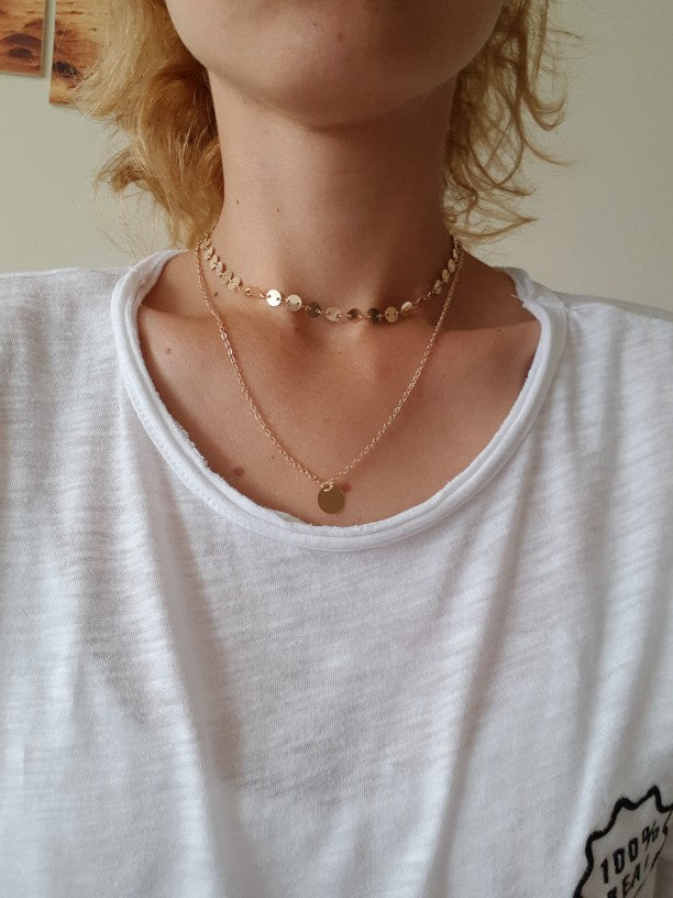 Gold Silver Coin Layered Necklace Charm Choker Necklace Boho Necklace