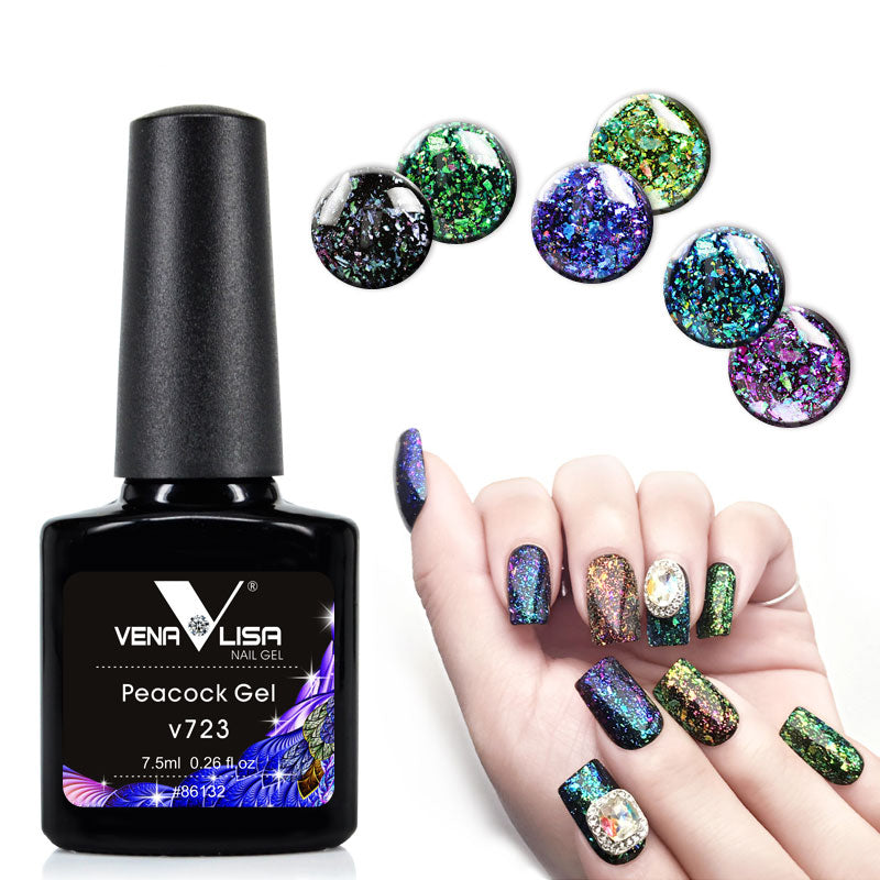 6 colors 7.5ml manicure nail art design varnish nail gel lacquer glitter sequins platinum peack nail gel polish
