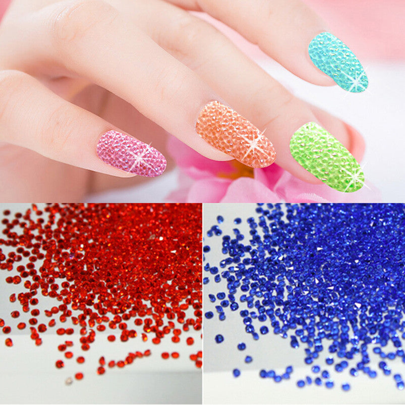 1440pcs/bag 1.3mm Nail Colors Zircon Rhinestones Micro Rhinestones ...