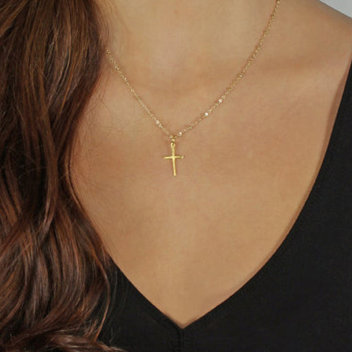 Simple Choker Necklace Gold Chain Cross Necklace Small Gold Cross Religious Jewelry