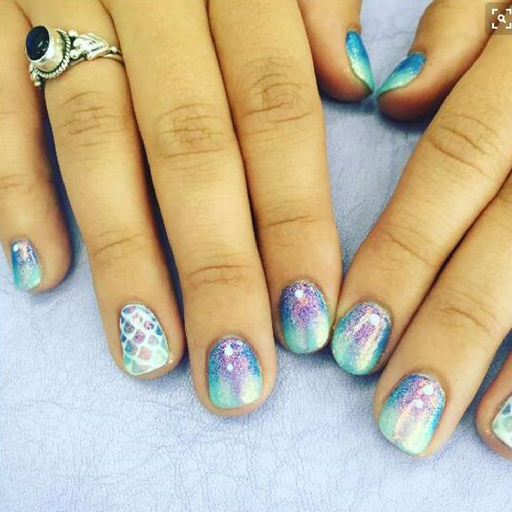 1g Holographic Mermaid Nail Glitter Powder Shimmer Glitter Pigment Nail Powder Dust Laser Magic Glimmer Power Nail Art