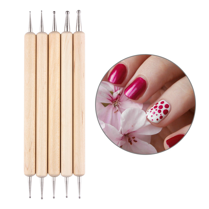 5Pcs Wooden Dotting Pen Marbleizing Tool Nail Art Dot Dotting Tools